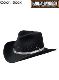 Harley Davidson Hats Crushable Cowboy Wool HD 162 Black
