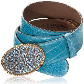 Italian Designer Blue Croc Leather Swarovski Large Belt Shoes