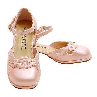 Light Pink Pearl Flower Heel Dress Shoe LIttle Girls 4 Modit Shoes
