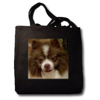 Chocolate Parti Pomeranian Oil Painting   Black Tote Bag
