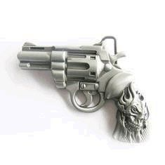 Revolver and Flame Skull Glock Belt Buckle Clothing