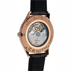 Zenith Mens Elite Rose Gold Silver Face Watch