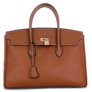 Fauve Whisky Brown & Gold GRACE 40 Leather Tote Bag Handbag Shoes