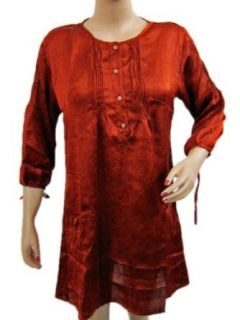 Womens Hippie Boho Tops Red Blouse Buttons Satin Tunic Top