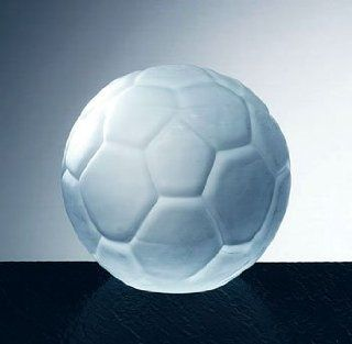 Frosted Glass Soccer Ball Paperweight