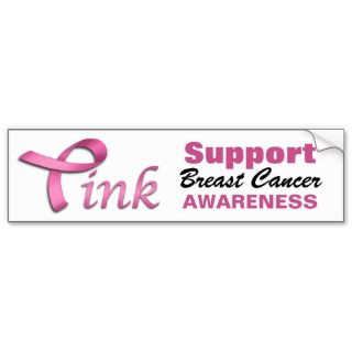 Ribbon) Support Breast Cancer Awareness Bumper Sticker