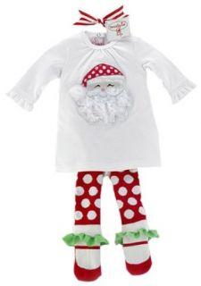 Mud Pie Santa Tunic And Sock Leggings, White/Red Polka