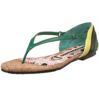 Lovers Womens Kroepel Thong Sandal,Green/Black,5.5 M US Shoes