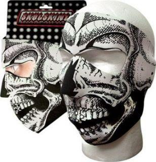 New B&w Skull Neoprene Full Face Mask Nose Mouth Vent Snow