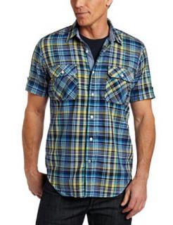 Nautica Mens Short Sleeve Madras Shirt, Nautica Blue