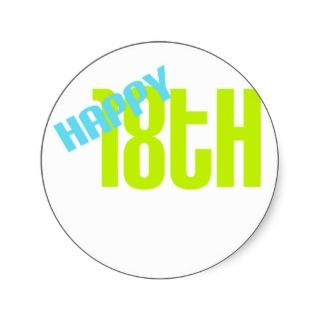 Cute, Happy 18th Birthday Stickers
