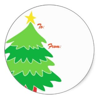 Christmas Tree Gift Tags Round Stickers
