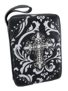 Damask Print Bible Cover Rhinestone Cross Black Trim