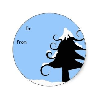 blue curly tree christmas gift label sticker round to and sticker