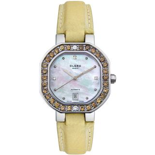 Clerc Womens Diamond Gold Satin Watch