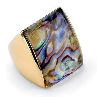 Angelina DAndrea 14k Gold plated Abalone Square Ring
