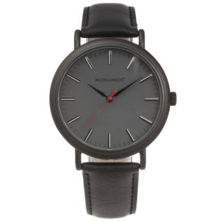 Monument Mens Grey Dial Synthetic Leather Strap Watch Today $26.49