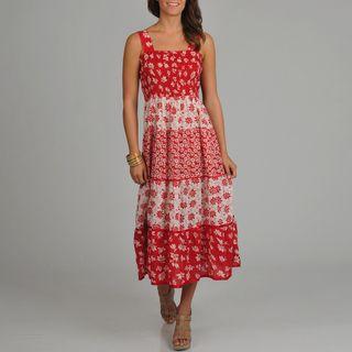 La Cera Womens Floral Print Smocked Top Tiered Maxi Dress