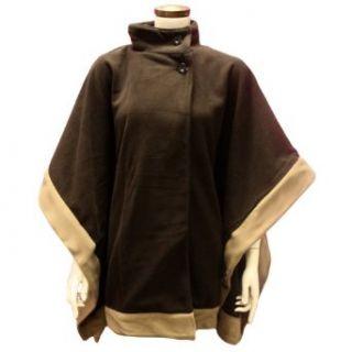 Brown Two tone Fleece High Collar Poncho Cape Shawl Cloak
