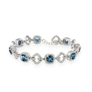 Glitzy Rocks Silver 8 CTW London Blue Topaz and Diamond Accent