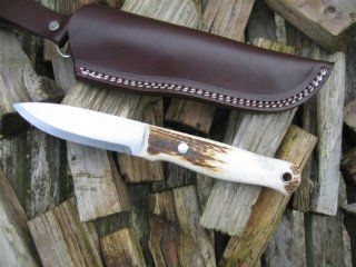Bushcraft Knife   Woodlore Clone   Stag Antler Handle