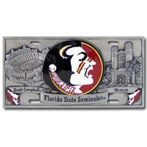 Florida State Seminoles 3 D License Plate   NCAA College