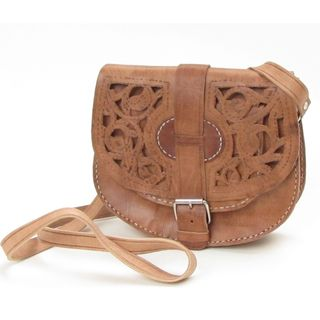 Small Hand crafted Honey brown Cut Leather Saddle Bag (Morocco