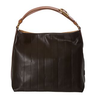 Fendi Pequin Black Tonal stripe Leather Hobo Bag