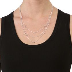 Sterling Silver 20 inch 3 strand Disco Ball Necklace (1 mm
