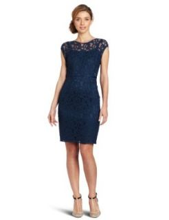 Adrianna Papell Womens Lace Dress with Slip, Peacock, 10