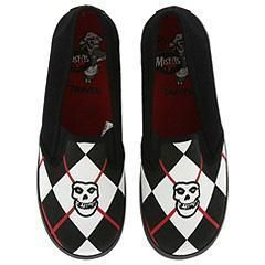 Draven Misfits   Fiend Argyle Slip On Black/Red Athletic