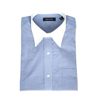 Nautica Mens Blue Dress Shirt