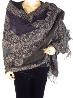Ladies Fashion Fancy Wrap Boiled Pure Wool w/ Embroidery