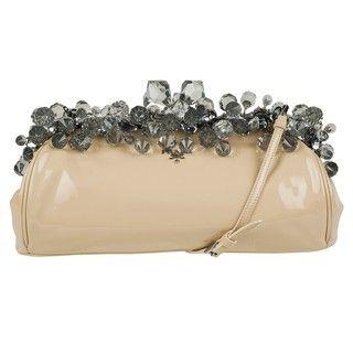 Prada Beige Patent Leather Jeweled Clutch