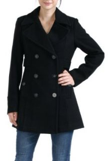 BGSD Womens Empire Seamed Wool Blend Pea Coat in Black or