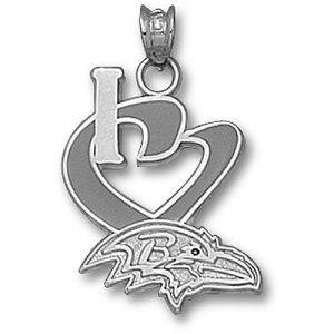 Baltimore Ravens NFL I Heart Logo 3/4 Enamel Pendant