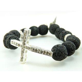Pretty Little Style Lava Stone Cross Bracelet