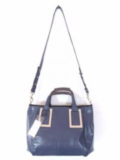 BESSO Blue Leather Luxury Italian Handbag Shoulder Bag