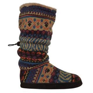 Muk Luks Womens Fairisle Toggle Slippers
