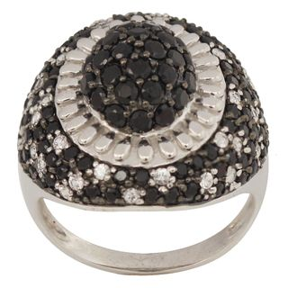 Beverly Hills Charm Silver Black Spinel and White Sapphire Ring