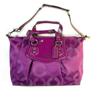 Coach Womens Ashley Purple Dotted Pop Art Satchel Bag