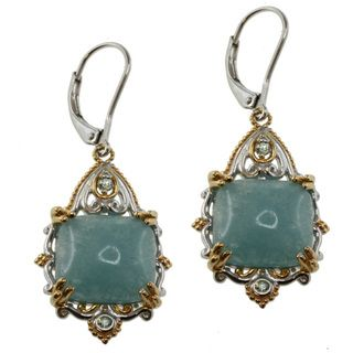 Michael Valitutti Two tone Frosted Aquamarine Earrings