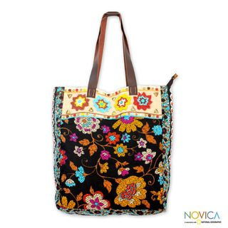 Beaded Cotton Faridabad Flowers Large Tote Handbag (India