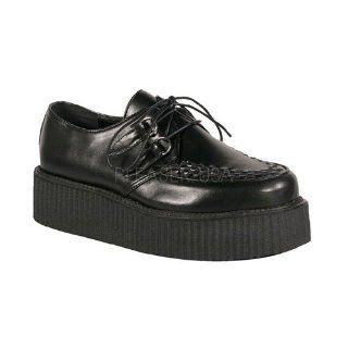 Black Faux Leather Basic Veggie Creeper Shoe Black Faux Leather Shoes