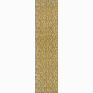 Hand knotted Mandara Floral Green New Zealand Wool Rug (211) x 49)