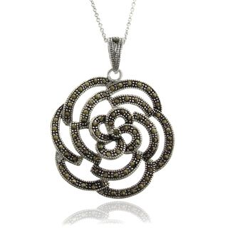 Silver Overlay Marcasite Rose Necklace