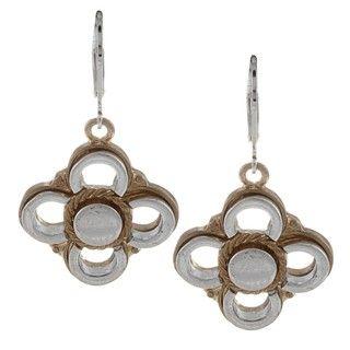 Alexa Starr Two tone Flower Drop Earrings