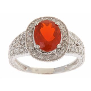 Yach 14k White gold Fire Opal Ring with Diamonds TDW 2/5 carat
