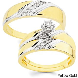 10k Gold 1/10ct TDW His and Her Diamond Wedding Ring Set