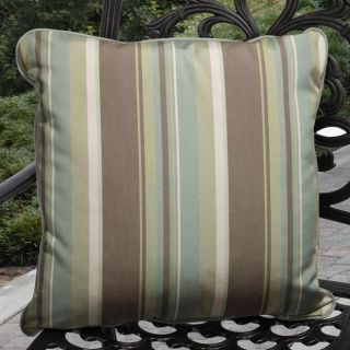 Clara Outdoor Sage/ Mocha Stripe Pillows Made With Sunbrella (Set of 2